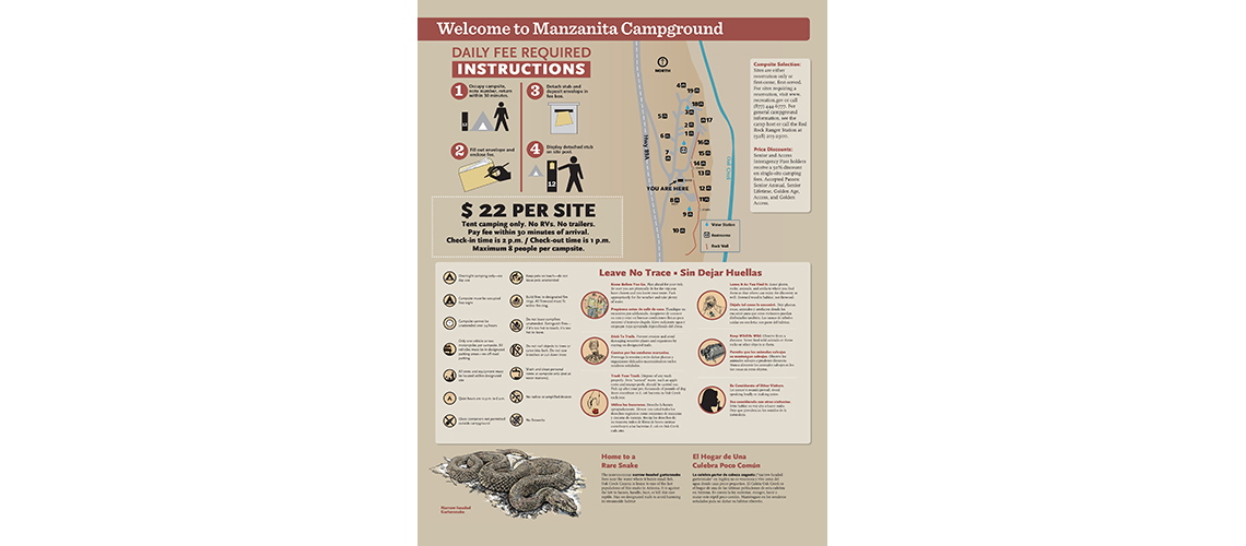 Sedona campground rules interpretive sign