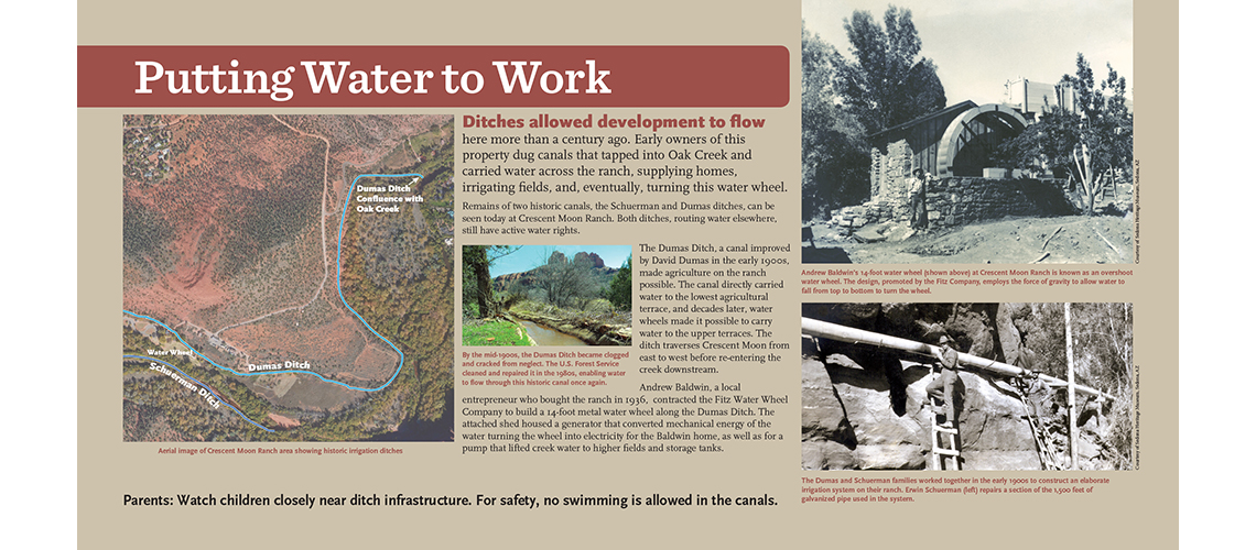 Sedona water wheel history interpretive sign